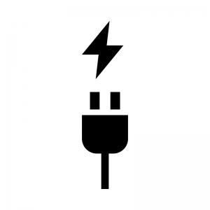 電気コード・充電の白黒シルエットイラスト02