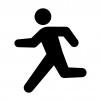 走る人の白黒シルエットイラスト