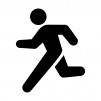 走る人の白黒シルエットイラスト02