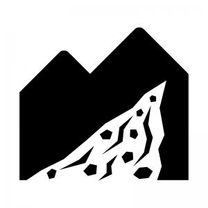 土砂崩れ・土砂災害の白黒シルエットイラスト