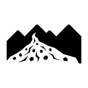 土砂崩れ・土砂災害の白黒シルエットイラスト02
