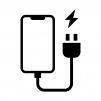 スマホの充電の白黒シルエットイラスト