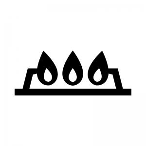 ガスコンロの火の白黒シルエットイラスト
