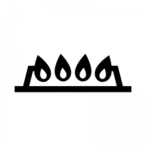 ガスコンロの火の白黒シルエットイラスト02