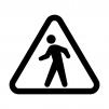 歩行者に注意の白黒シルエットイラスト02