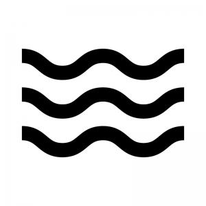 波・ウェーブの白黒シルエットイラスト