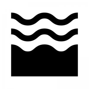 波・ウェーブの白黒シルエットイラスト02
