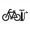自転車と空気入れの白黒シルエットイラスト
