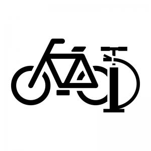 自転車と空気入れの白黒シルエットイラスト02