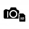 デジタル一眼レフカメラとSDカードの白黒シルエットイラスト
