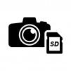 デジタル一眼レフカメラとSDカードの白黒シルエットイラスト02