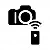 カメラのリモートシャッターの白黒シルエットイラスト