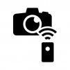 カメラのリモートシャッターの白黒シルエットイラスト02