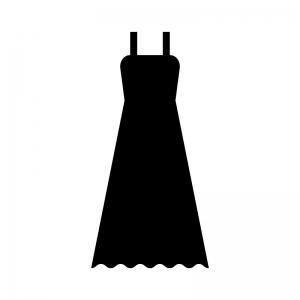 ロングドレスの白黒シルエットイラスト