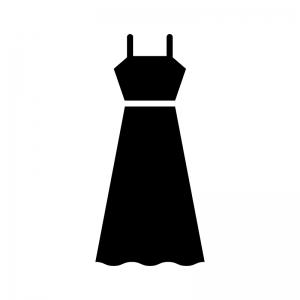 ロングドレスの白黒シルエットイラスト02