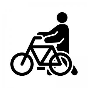 自転車から降りて通行の白黒シルエットイラスト02