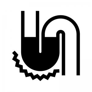 配管やパイプの詰まり・トラブルの白黒シルエットイラスト02