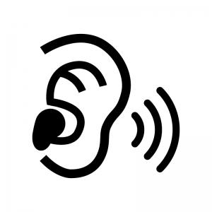 補聴器の白黒シルエットイラスト02