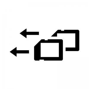 デュアルスロット(ダブルスロット)の白黒シルエットイラスト