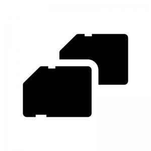 デュアルスロット(ダブルスロット)の白黒シルエットイラスト02
