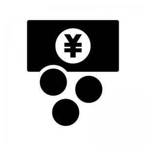 両替の白黒シルエットイラスト