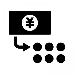 両替の白黒シルエットイラスト02