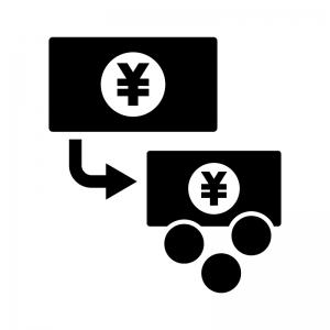 両替の白黒シルエットイラスト素材03