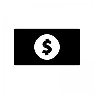 お金・紙幣(ドル)の白黒シルエットイラスト