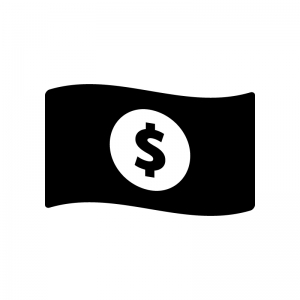 お金・紙幣(ドル)の白黒シルエットイラスト02