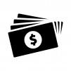 お金・紙幣(ドル)の白黒シルエットイラスト04