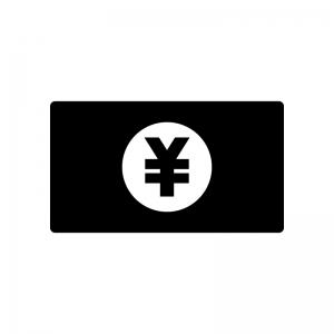 お金・紙幣(日本円)の白黒シルエットイラスト