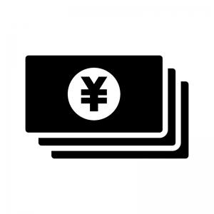 お金・紙幣(日本円)の白黒シルエットイラスト03