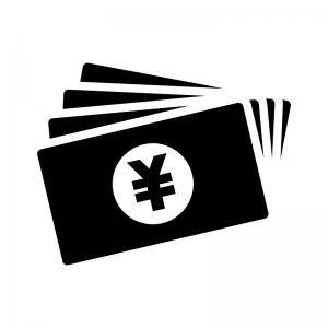 お金・紙幣(日本円)の白黒シルエットイラスト04