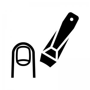 爪切りと指の爪の白黒シルエットイラスト