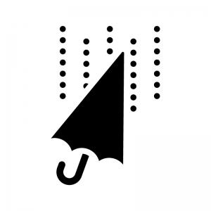 傘と雨の白黒シルエットイラスト