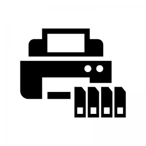 プリンターとインクカートリッジの白黒シルエットイラスト