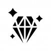 輝いている宝石・ダイヤの白黒シルエットイラスト