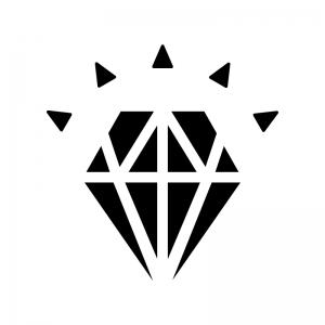 輝いている宝石・ダイヤの白黒シルエットイラスト02