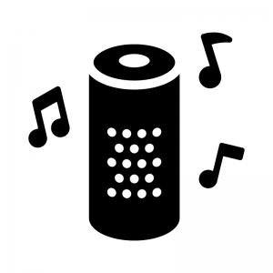 音楽が鳴っているスマートスピーカーの白黒シルエットイラスト