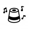 音楽が鳴っているスマートスピーカーの白黒シルエットイラスト02