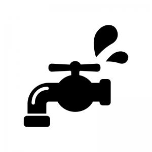 水道の水漏れや水回りのトラブルの白黒シルエットイラスト
