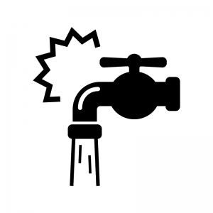 水道の水漏れや水回りのトラブルの白黒シルエットイラスト02