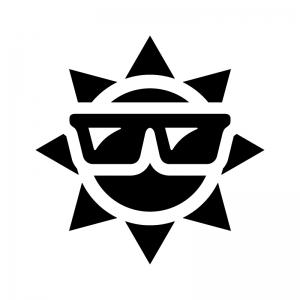 夏・猛暑の白黒シルエットイラスト