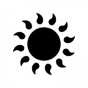 ギラギラ燃える太陽・猛暑の白黒シルエットイラスト