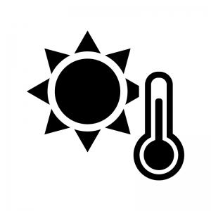 猛暑日の白黒シルエットイラスト