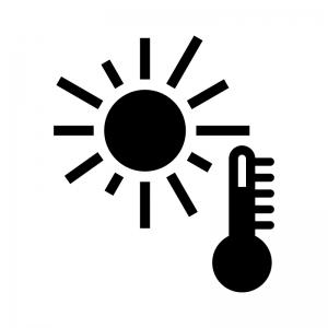 猛暑日の白黒シルエットイラスト素材02