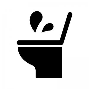 トイレのトラブルの白黒シルエットイラスト