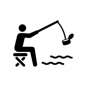 缶詰(空き缶)を釣った人の白黒シルエットイラスト