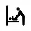多目的トイレの白黒シルエットイラスト