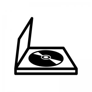 ケースに入ったCDやDVDなどの白黒シルエットイラスト